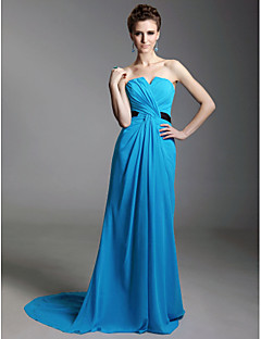 TS Couture® Formal Evening Dress - Open Back Plus Size / Petite Sheath / Column Strapless / Notched Sweep / Brush Train Chiffon / Stretch Satin with