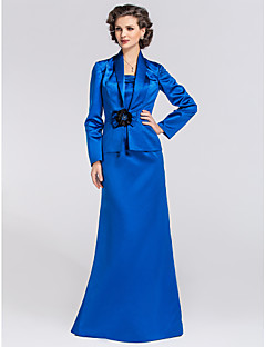 Trumpet/Mermaid Plus Size / Petite Mother of the Bride Dress - Floor-length Long Sleeve Satin
