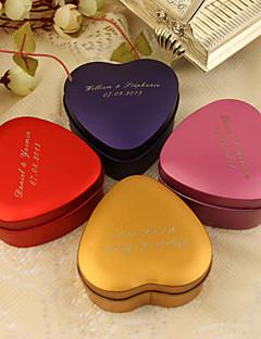 gepersonaliseerde hartvormige gunste tin - set van 24 (meer kleuren)