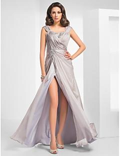 저녁 정장파티/밀리터리 볼 드레스 - 실버 시스/컬럼 바닥 길이 스트랩 쉬폰 플러스 사이즈