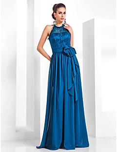 저녁 정장파티/밀리터리 볼 드레스 - 잉크 블루 시스/컬럼 바닥 길이 홀터 쉬폰/레이스 플러스 사이즈