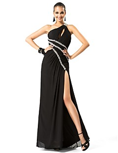 TS Couture® Formal Evening / Military Ball Dress - Sexy Plus Size / Petite Sheath / Column One Shoulder Floor-length Chiffon with Beading / Side