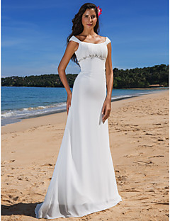 Lanting Bride Sheath/Column Petite / Plus Sizes Wedding Dress-Sweep/Brush Train Scoop Chiffon