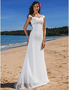 시스 / 칼럼 스쿱 스윕 / 브러쉬 트레인 쉬폰 웨딩 드레스 와 비즈 드레이프트 버튼 으로 LAN TING BRIDE®