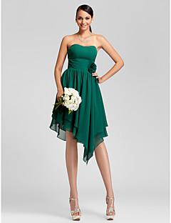 lanting 비대칭 / 무릎 길이 쉬폰 들러리 드레스 - 짙은 녹색 더하기 크기 / 아담 - 라인 / 공주 끈