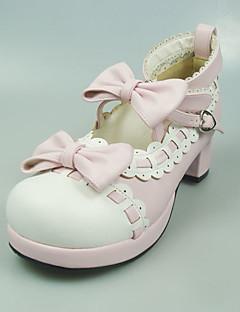 נעליים לוליטה מתוקה נסיכות עקב גבוה נעליים סרט פרפר 5 CM לבן / ורוד ל נשים עור פוליאוריתן