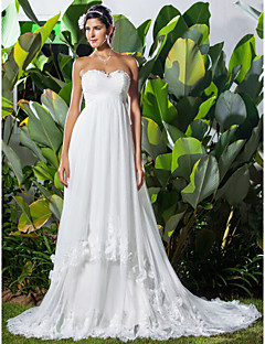 Lanting A-line/Princess Plus Sizes Wedding Dress - Ivory Chapel Train Sweetheart Chiffon