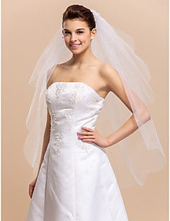 Véus de Noiva Duas Camadas Véu Ponta dos Dedos Corte da borda Borda Recortada 39,37 in (100cm) Tule BrancoLinha-A, Vestido de Baile,