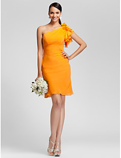 Homecoming Knee-length Chiffon Bridesmaid Dress - Orange Plus Sizes Sheath/Column One Shoulder