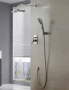 現代風 シャワーシステム レインシャワー / ハンドシャワーは含まれている with  セラミックバルブ シングルハンドル4つの穴 for  クロム , シャワー水栓