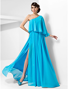 Formal Evening/Military Ball Dress - Pool Plus Sizes A-line/Princess One Shoulder Sweep/Brush Train Chiffon