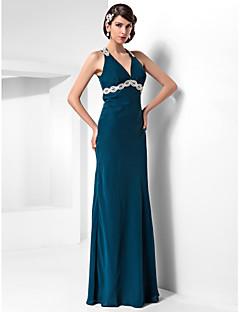 TS Couture 포멀 이브닝 밀리터리 볼 드레스 - 아름다운 뒤태 시스 / 칼럼 홀터 넥 바닥 길이 쉬폰 와 아플리케 비즈 드레이핑