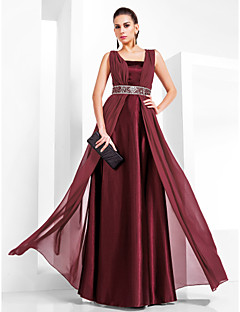 Sheath / Column Square Neck Floor Length Chiffon Stretch Satin Formal Evening Military Ball Dress with Beading Draping by TS Couture®