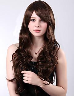 alta calidad a largo pelucas explosión lado rizado marrón sintéticos resistentes al calor