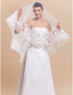 Wedding Veil One-tier Fingertip Veils Lace Applique Edge 70.87 in (180cm) Tulle WhiteA-line, Ball Gown, Princess, Sheath/ Column,