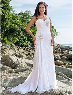 Lanting Sheath/Column Plus Sizes Wedding Dress - White Court Train Sweetheart Chiffon