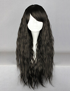 Zipper Black 70cm Casual Lolita Wave Wig