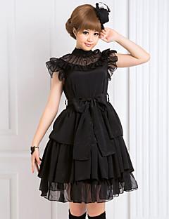 Egyrészes/Ruhák Gótikus Lolita Lolita Cosplay Lolita ruhák Fekete Egyszínű Ujjatlan Közepes hossz Ruha Mert Női Sifon