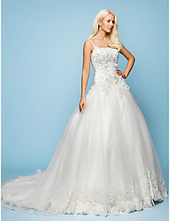 A-line/Princess Wedding Dress - Ivory Court Train Spaghetti Straps Satin/Tulle/Lace