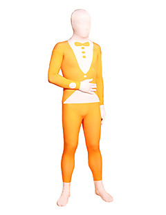 Orange Tuxedo Lycra Full Body Zentai