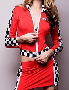 Sweet Racing Girl Red Polyester Sexy Uniform (2 Pieces)