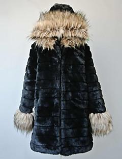 Nice Long Sleeve Hood Faux Fur Casual/Party Coat