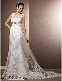 Lanting Bride Sheath/Column Petite / Plus Sizes Wedding Dress-Court Train Straps Tulle