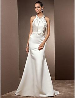 Lanting Bride Trumpet/Mermaid Petite / Plus Sizes Wedding Dress-Sweep/Brush Train Jewel Satin