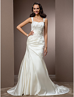 Lanting Bride Trumpet/Mermaid Petite / Plus Sizes Wedding Dress-Court Train Square Satin