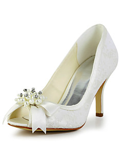Women's Spring / Summer / Fall Heels Satin / Stretch Satin Wedding Stiletto Heel Bowknot / Imitation Pearl Black / Ivory / White