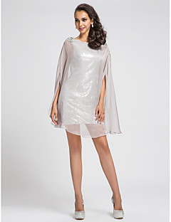 TS Couture Cocktail Party Dress - Sparkle & Shine Sheath / Column Bateau Short / Mini Chiffon Sequined with Beading Sequins
