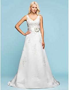 웨딩 드레스 - 아이보리(색상은 모니터에 따라 다를 수 있음) A 라인/프린세스 쿼트 트레인 V 넥 사틴 플러스 사이즈