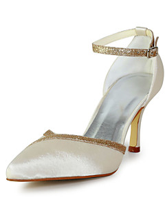 Elegant Satin Stiletto Heel Pumps with Sparkling Glitter Wedding/Party/Evening Shoes(More Colors)