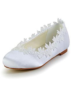 Flickor Bröllop Skor Komfort Platt sko Bröllop Elfenbensvit/Vit