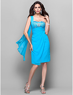 Cocktail Party Dress - Plus Size / Petite Sheath/Column One Shoulder Knee-length Chiffon