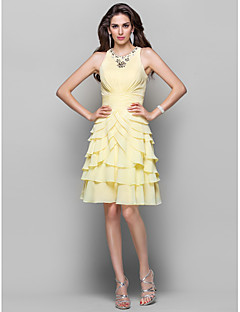 TS Couture Cocktail Party Homecoming Dress - Elegant A-line Princess High Neck Knee-length Chiffon withBeading Pearl Detailing Ruching