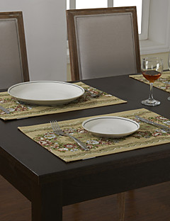 Ensemble De 4 Sets de Table Floral traditionnels en polyester Green Cotton Blend