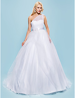 Lan Ting Ball Gown Plus Sizes Wedding Dress - White Court Train One Shoulder Tulle