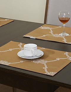 jeu de 4 géométriques imprimés polyester de coton mélange d'or napperons