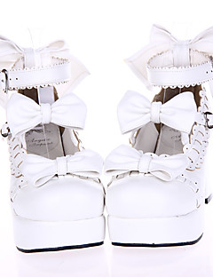 White PU Leather 7.5cm High Heel Sweet Lolita Shoes with Bow