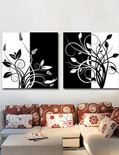 sträckt duk konst svartvit blom grenar set om 2