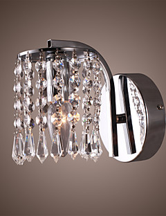 60W Vibrant Modern Wall Bracket Light with Crystal Pendants in Polished Chrome