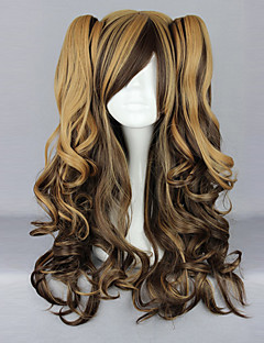 Chocolate Coffee Blended Color Curly Pigtails 70cm Sweet Lolita Wig