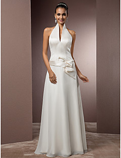 Lan Ting Sheath/Column Plus Sizes Wedding Dress - Ivory Floor-length Halter Satin/Chiffon