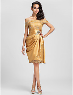 Homecoming Cocktail Party/Prom Dress - Gold Plus Sizes Sheath/Column Off-the-shoulder Short/Mini Lace/Stretch Satin