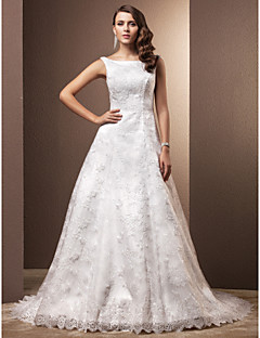 A-line Petite / Plus Sizes Wedding Dress - Ivory Chapel Train Scoop Lace