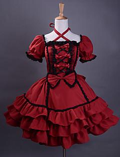 Short Sleeve Knee-length Wine Red Cotton Black Trim Gothic Lolita Dress