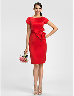 Dress Sheath / Column Jewel Knee-length Satin with Bow(s) / Sash / Ribbon