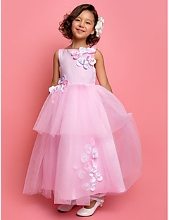 Lanting Bride A-line / Princess Ankle-length Flower Girl Dress - Satin / Tulle Sleeveless Jewel with Beading / Flower(s) / Tiers