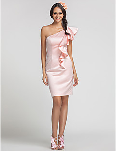 Short/Mini Satin Bridesmaid Dress - Pearl Pink Plus Sizes / Petite Sheath/Column One Shoulder